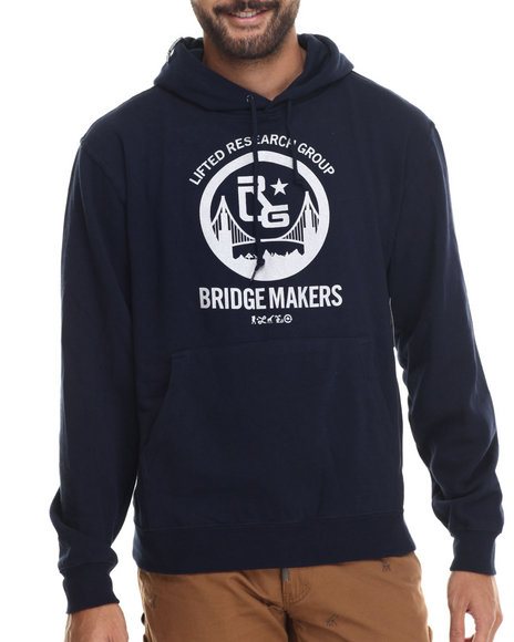Lrg - Men Navy Bridge Makers Pullover Hoodie
