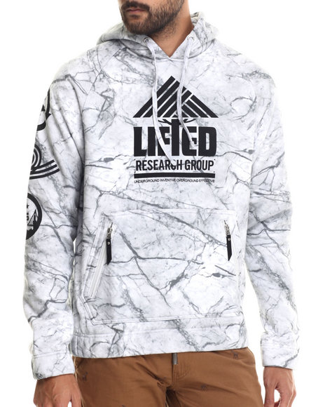 Lrg - Men Light Grey Peep The Marble Pullover Hoodie