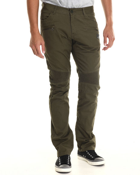 Hudson Nyc - Men Olive Staple Leaf Grate Cotton Twill Pants W/ Ribbed Panels