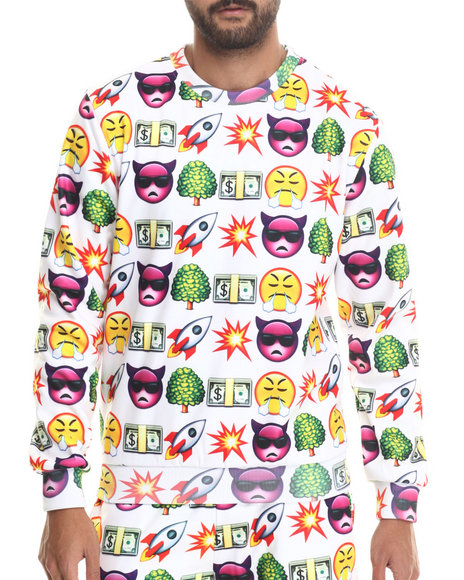 Hudson Nyc - Men White Emoji Life Crewneck Sweatshirt