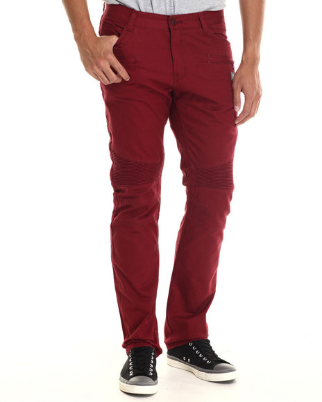 Hudson Nyc - Men Maroon Staple Leaf Grate Cotton Twill Pants W/ Ribbed Panels