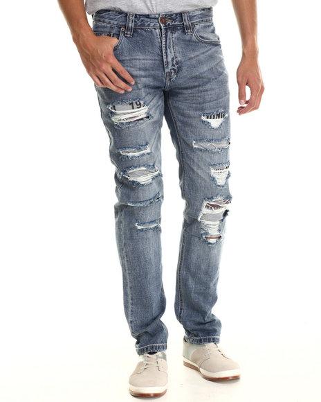 Hudson Nyc - Men Medium Wash Python Destructed Denim Jeans