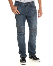 Men - Moto Grid Denim Jeans W/ Quilted Panels