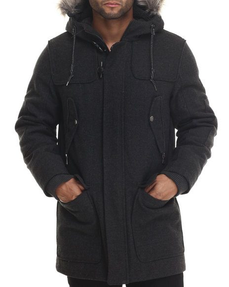 Sean John - Men Grey Herringbone Wool Snorkel Jacket