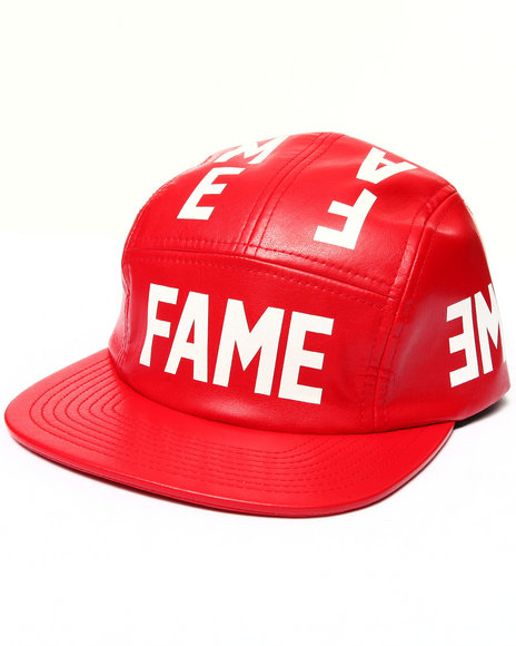 Hall Of Fame Men Leather Reflect Camper 5-Panel Cap Red