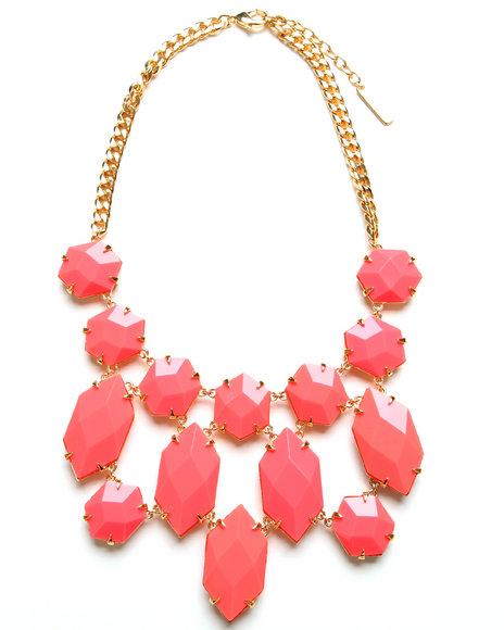 Djp Outlet Women Bright Gems Bib Necklace Orange
