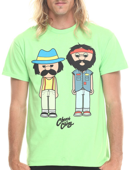 Graf-X Gallery - Men Lime Green Cheech & Chong Mens Tear Away Label S/S Tee