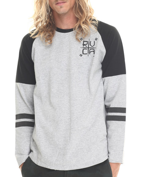 Rvca - Men Grey Hustle Jersey Raglan - $25.99