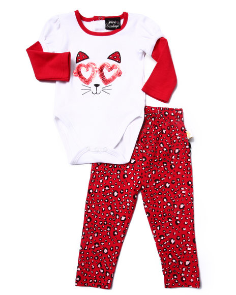 Duck Duck Goose - Girls Red 2 Pc Sequin Kitty Leggings Set (Newborn) - $11.99