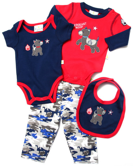 Duck Duck Goose - Boys Navy 4 Pc Sergeant Layette Set (Newborn) - $13.99