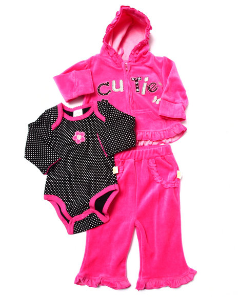 Duck Duck Goose - Girls Pink 3 Pc Cutie Velour Set (Newborn)