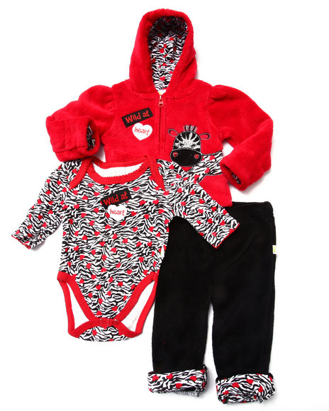 Duck Duck Goose - Girls Red 3 Pc Zebra Sherpa Set (Newborn) - $16.00