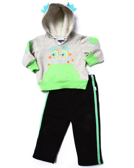 Duck Duck Goose - Boys Grey 2 Pc Monster Fleece Set (Newborn) - $10.99