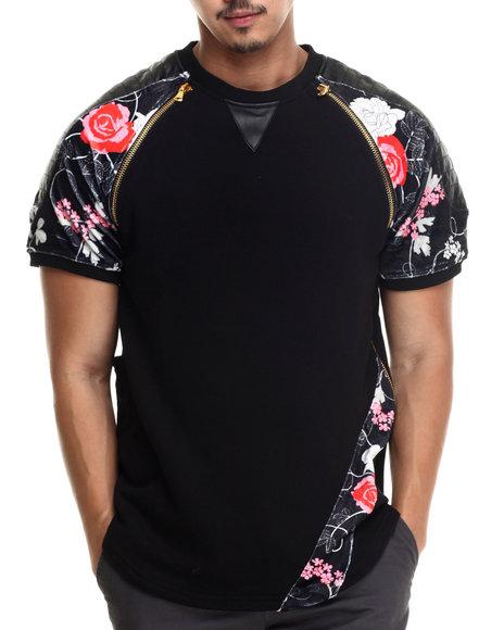 Frost Originals - Men Black Rose Noir Velour Elongated Lux French Terry S/S Shirt