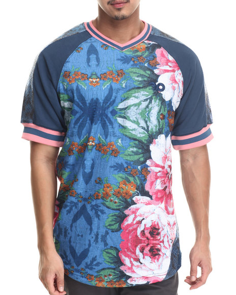 Frost Originals - Men Blue Floral Lux Jersey W/ French Terry & Split Leather Detail