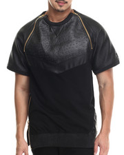 T-Shirts - Exotic Thrill Chevron S/S Tee w/ Zipper vents & Split leather Detail