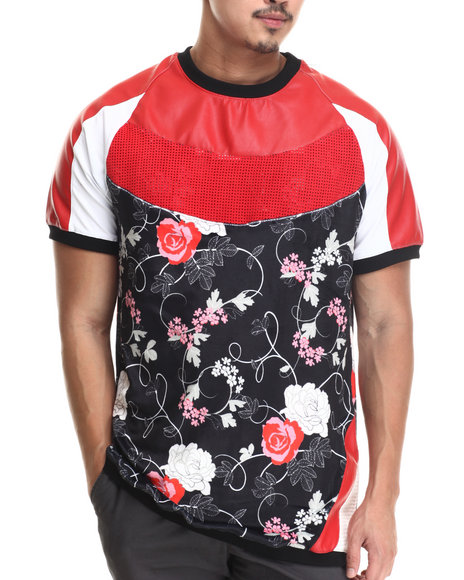 Frost Originals - Men Black Rose Noir Velour Raglan S/S Shirt W/ Micro Suede Split Leather Detail