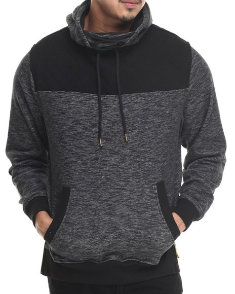 Buyers Picks - Men Grey P / U Trimmed French Terry Pullover Hoodie
