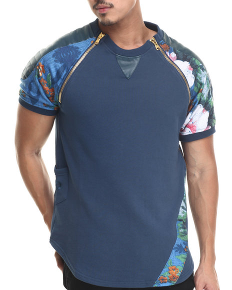 Frost Originals - Men Blue Floral Elongated S/S Tee W/ Emb Side Pocket & Split Leather Detail