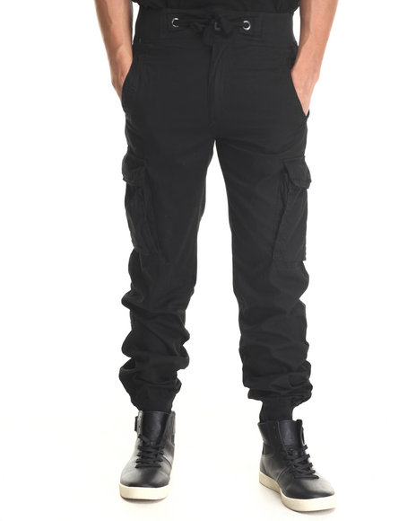 Buyers Picks - Men Black Lt Twill Cargo Jogger Pants