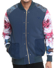 Men - Floral Lux French Terry Bomber Jacket w/ Split leather detail