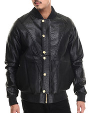 Men - Exotic Thrill Jacket w/ Embossed split faux leather Varsity Jacket