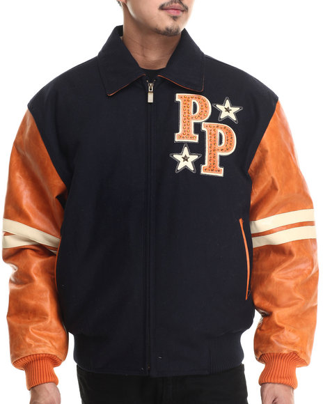 Pelle Pelle - Men Navy,Orange Wool Soda Club Pelle Pelle Jacket