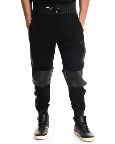 Frost Originals - Men Black Exotic Thrill Jogger Pant W/ Split Leather Detail