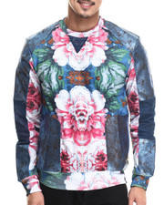 Sweatshirts & Sweaters - Floral Crewneck Sweatshirt w/ French Terry & Split Leather Detaill