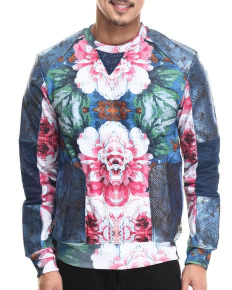Frost Originals - Men Blue,Multi Floral Crewneck Sweatshirt W/ French Terry & Split Leather Detaill
