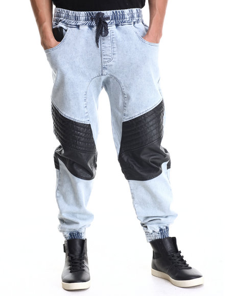 Buyers Picks - Men Black,Light Wash Washed French Terry Joggers W/ Faux Leather Trim