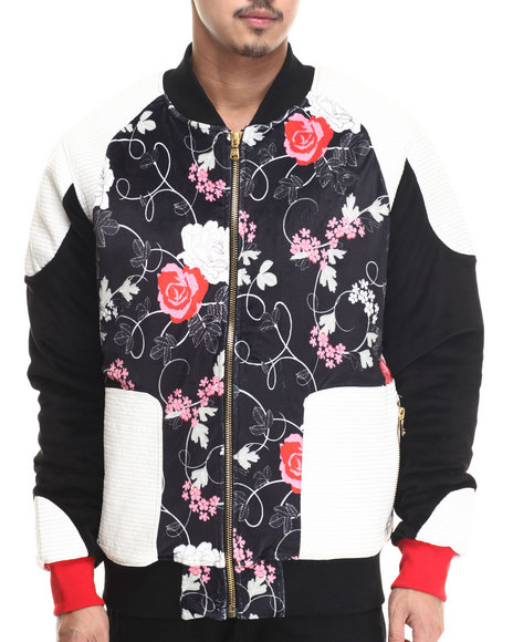 Frost Originals - Men Black Floral Velour Bomber Jacket W/ Tripunto Quilted Leather Pieced Detail