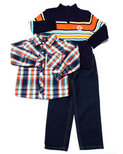 Sizes 4-7x - Kids - 3 PC SET - MOCK NECK SWEATER, PLAID WOVEN, & PANTS (4-7)