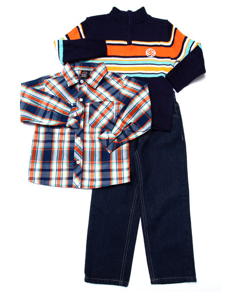 Enyce - Boys Orange 3 Pc Set - Mock Neck Sweater, Plaid Woven, & Pants (4-7) - $15.99