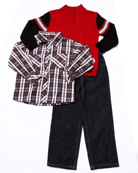 Enyce - Boys Red 3 Pc Set - Cable Knits Sweater, Plaid Woven, & Jeans (4-7)
