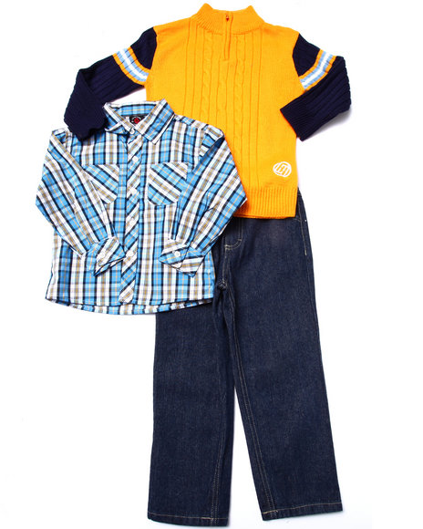 Enyce - Boys Orange 3 Pc Set - Cable Knits Sweater, Plaid Woven, & Jeans (4-7)
