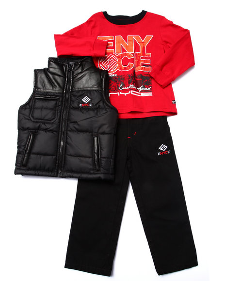 Enyce - Boys Black 3 Pc Set - Puffer Vest, Tee, & Jeans (2T-4T)