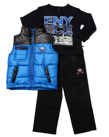 Enyce - Boys Blue 3 Pc Set - Puffer Vest, Tee, & Jeans (2T-4T) - $40.00
