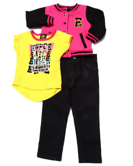 Enyce - Girls Pink 3 Pc Set - Varsity Jkt, Tee, & Jeans ( 2T-4T)