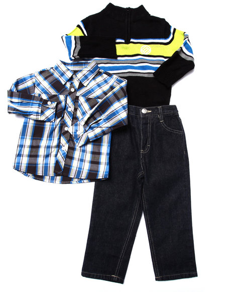 Enyce - Boys Blue 3 Pc Set - Mock Neck Sweater, Plaid Woven, & Pants (2T-4T)