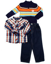 Sets - 3 PC SET - MOCK NECK SWEATER, PLAID WOVEN, & PANTS (2T-4T)