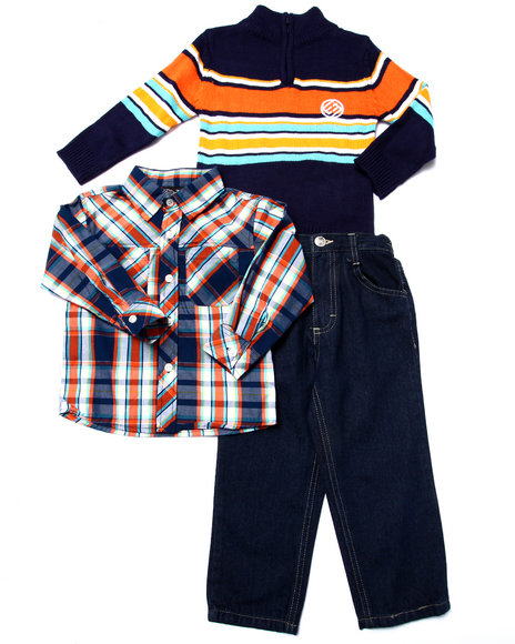 Enyce - Boys Orange 3 Pc Set - Mock Neck Sweater, Plaid Woven, & Pants (2T-4T)