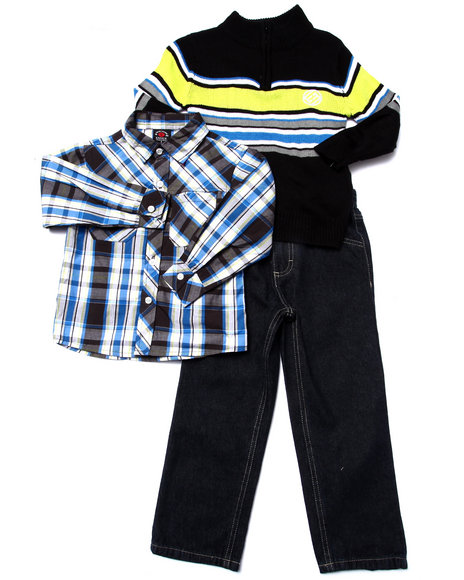 Enyce - Boys Blue 3 Pc Set - Mock Neck Sweater, Plaid Woven, & Pants (4-7)
