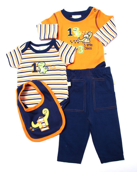 Duck Duck Goose - Boys Orange 4 Pc Dinosaur Layette Set (Newborn) - $13.99