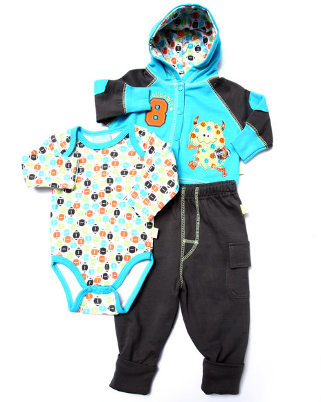Duck Duck Goose - Boys Teal 3 Pc Monster French Terry Set (Newborn)