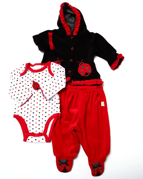 Duck Duck Goose - Girls Red 3 Pc Ladybug Velour Set (Newborn)