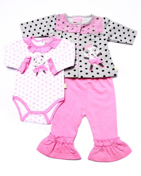 Duck Duck Goose - Girls Pink 3 Pc Ballerina French Terry Cardigan Set (Newborn)