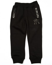 Sweatpants - FAUX LEATHER TRIM FLEECE JOGGERS (4-7)
