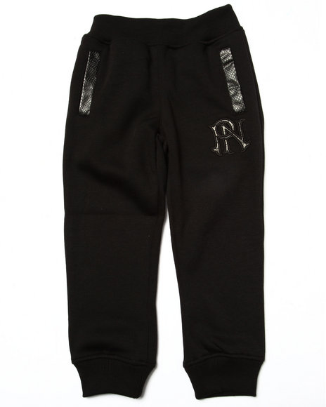 Parish - Boys Black Faux Leather Trim Fleece Joggers (4-7)