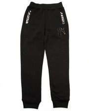 Sweatpants - FAUX LEATHER TRIM FLEECE JOGGERS (8-20)
